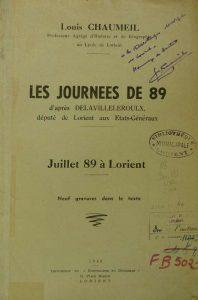 Les journées de 89 - Juillet 89 à Lorient - Louis Chaumeil
