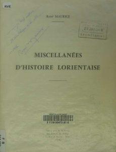 Miscellanées d'Histoire Lorientaise - René Maurice